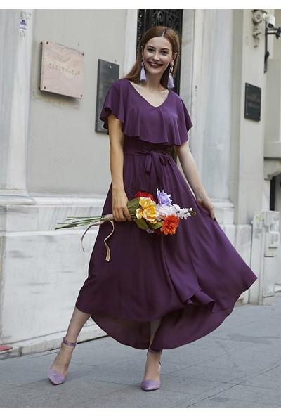 Femme Kadın Mürdüm Volanlı Elbise FM5048