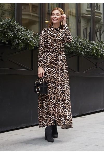 Femme Kadın Siyah Leopar Desenli Elbise FM5523
