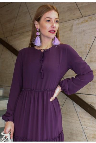 Femme Kadın Mor Şifon Elbise FM5039