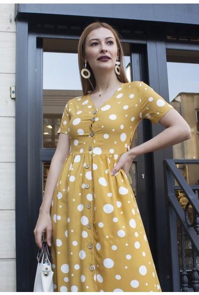 Femme Kadın Hardal Puantiyeli Elbise FM5010