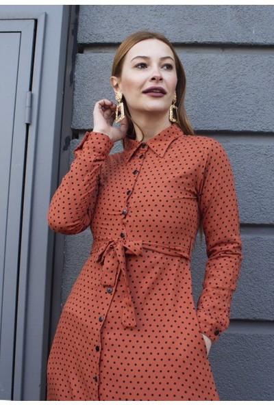 Femme Kadın Kiremit Puantiyeli Elbise FM5001