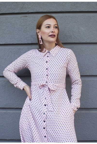 Femme Kadın Pudra Puantiyeli Elbise FM5001