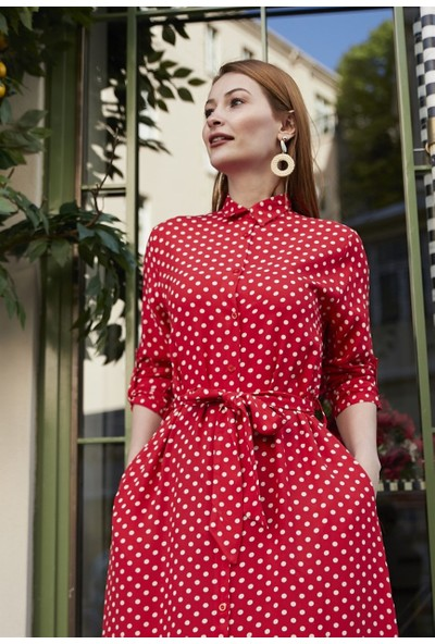 Femme Kadın Kırmızı Puantiyeli Elbise FM5544