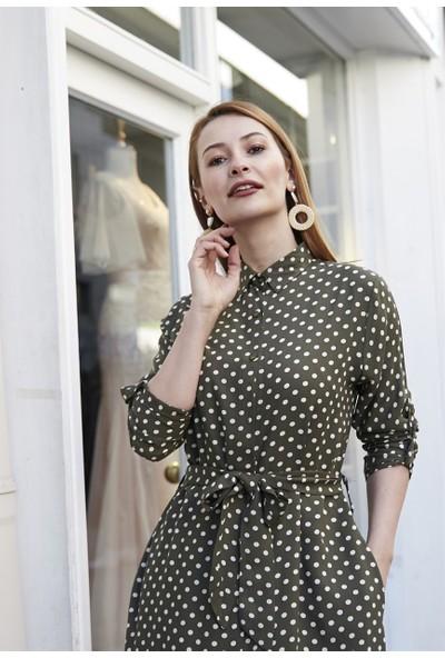 Femme Kadın Haki Puantiyeli Elbise FM5544