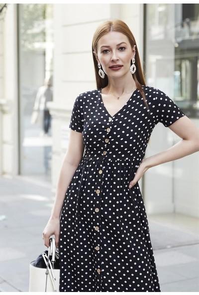 Femme Kadın Siyah Puantiyeli Elbise FM5583
