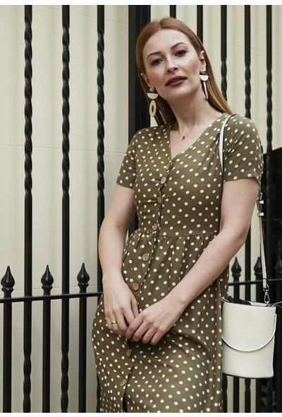 Femme Kadın Haki Puantiyeli Elbise FM5583
