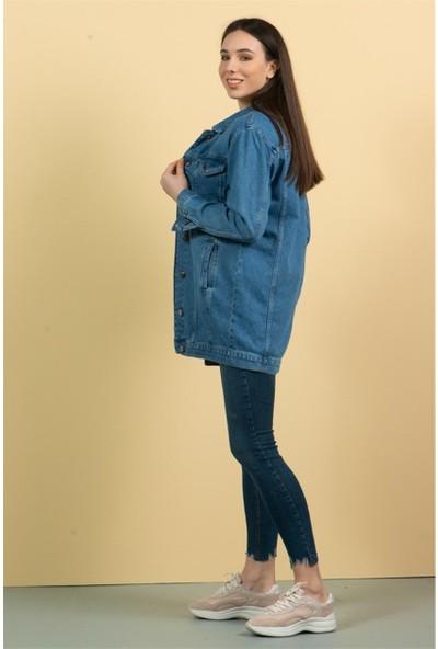 Livanomi Kadın Açık Mavi Boyfriend Kot Ceket