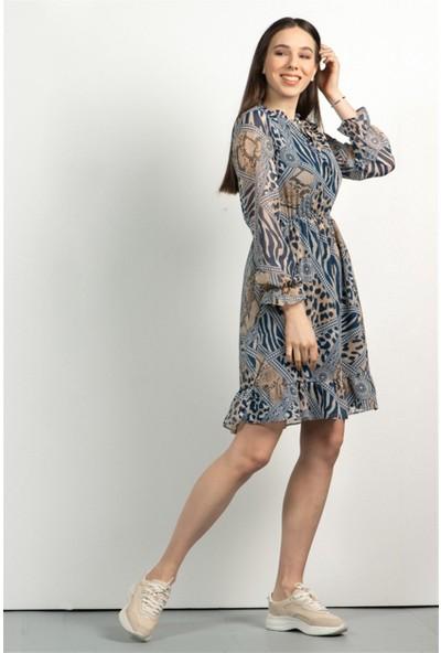 Livanomi Kadın Taş Rengi Şifon Fırfırlı Elbise