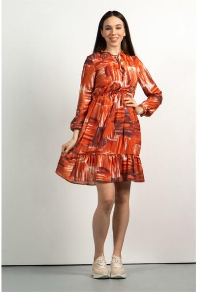Livanomi Kadın Tarçın Kolları Büzgülü Elbise