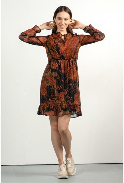 Livanomi Kadın Siyah Yoryo Empirme Şifon Elbise