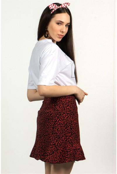 Livanomi Kadın Kırmızı Leopar Desen Volanlı Mini Etek