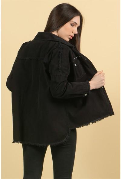 Livanomi Kadın Siyah Rivetli Ceket