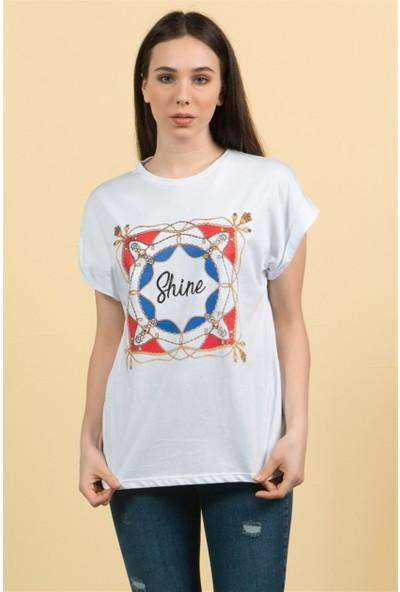 Livanomi Kadın Beyaz Shine T-Shirt