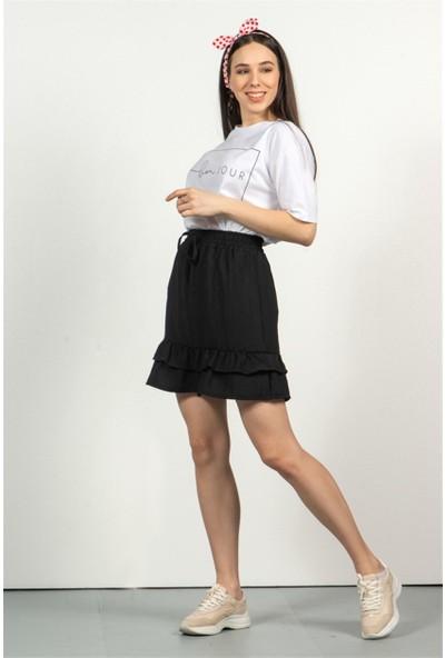 Livanomi Kadın Siyah Beli Lastikli Mini Etek