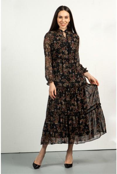 Livanomi Kadın Siyah Mini Çiçek Desen Uzun Elbise