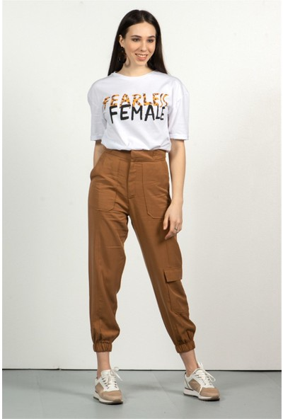 Livanomi Kadın Kargo Cep Taba Pantolon