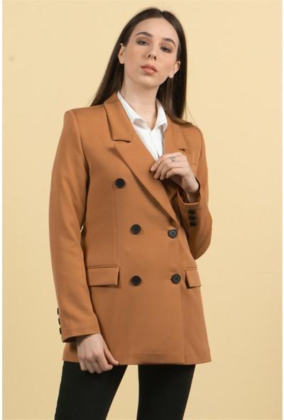 Livanomi Kadın Tarçın Düğmeli Blazer Ceket