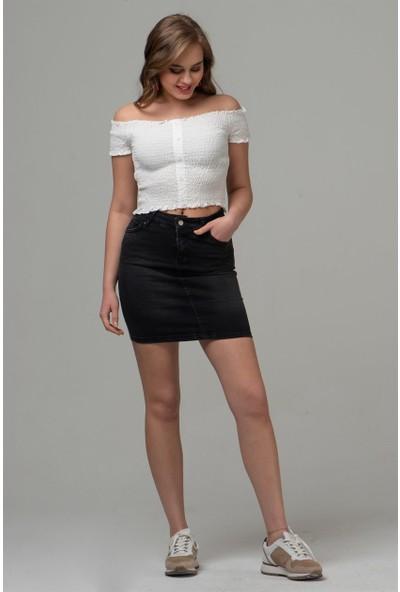 Livanomi Kadın Siyah Mini Kot Etek