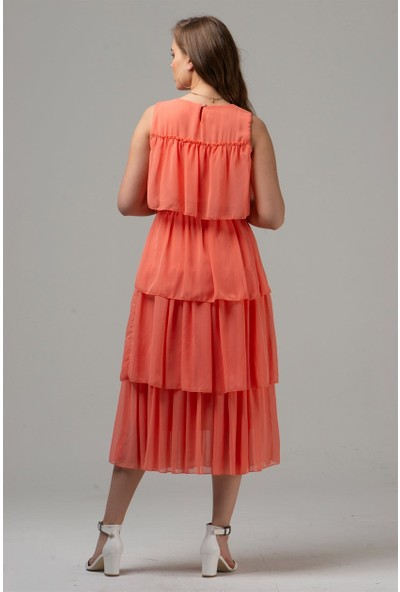Livanomi Kadın Nar Çiçeği Kat Kat Şifon Elbise