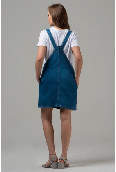Livanomi Kadın Kot Salopet Elbise