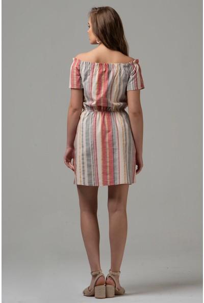 Livanomi Kadın Kayık Yaka Çizgili Keten Elbise