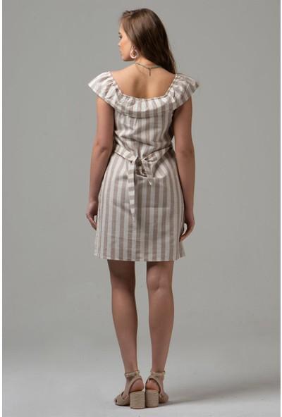 Livanomi Kadın Fırfırlı Kayık Yaka Bej Keten Elbise