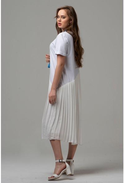 Livanomi Kadın Eteği Pliseli Beyaz Elbise