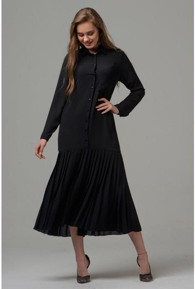 Livanomi Kadın Eteği Pliseli Siyah Şifon Elbise