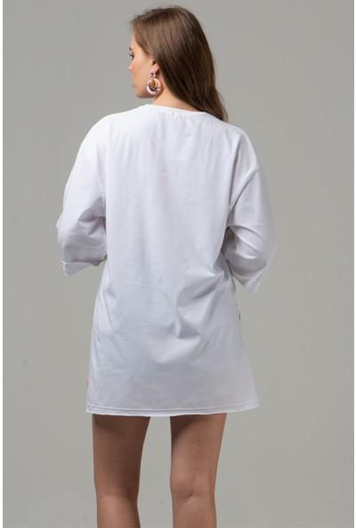 Livanomi Kadın Hazal Beyaz Boyfriend T-Shirt