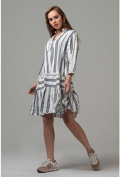 Livanomi Kadın Çizgili Beyaz Fırfır Elbise