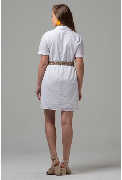 Livanomi Kadın Önü Düğmeli Beyaz Fisto Elbise