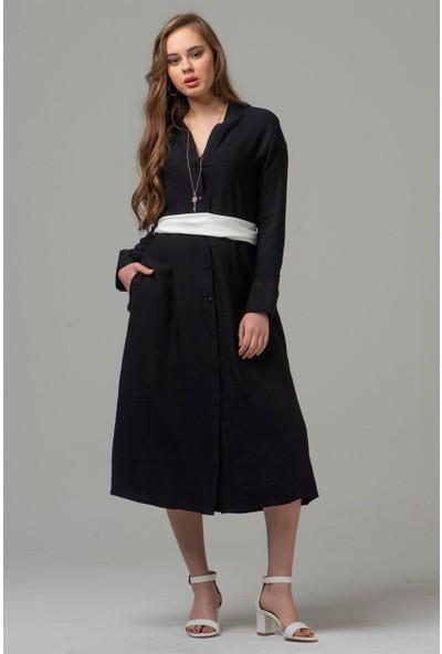 Livanomi Kadın Beyaz Kuşaklı Siyah Keten Elbise