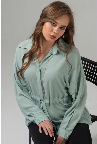 Livanomi Kadın Beli Büzgülü Yarasa Kol Gömlek