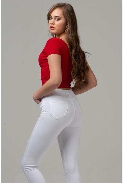 Livanomi Kadın Beyaz Yırtık Likralı Jean Pantolon