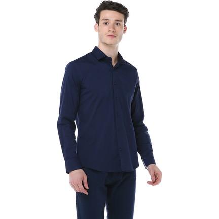 4fae80df54593 Manche Lacivert Takma Patlı Pensli Premium Gömlek Me19S110009