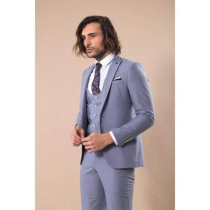 a8ae52e0edcf2 Wessi Gri Sivri Yaka Tek Düğmeli Slim Fit Yelekli Takım Elbise