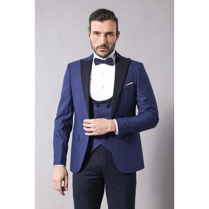 699d0292f51a5 Wessi Kombinli Yelekli Lacivert Damatlık Takım Elbise Fiyatı