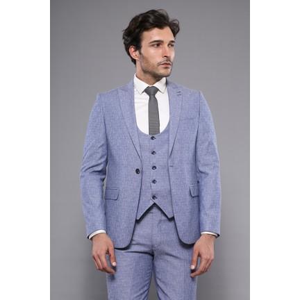 bd7cea762ccb8 Wessi Tek Düğme Sivri Yaka Mavi Yelekli Takım Elbise Fiyatı