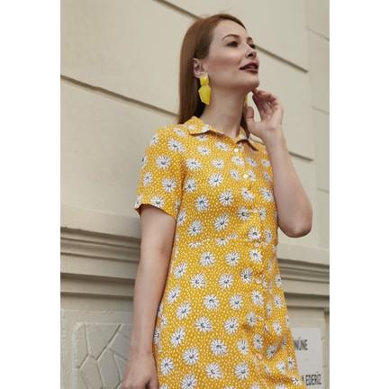 9b0df94ac072d Femme Kadın Sarı Çiçek Desenli Elbise FM5579 Fiyatı