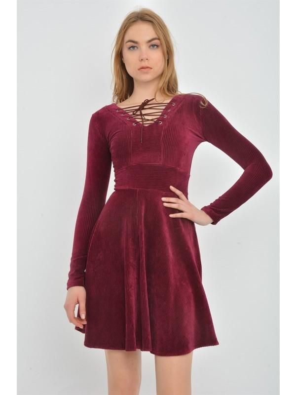 Kalopya 3965 Mariy Fitilli Kadife Elbise