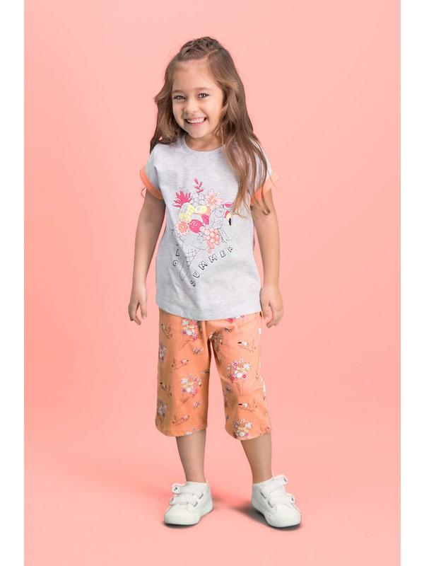 Roly Poly Hello Summer Açık Gri Kız Çocuk Kapri Takım