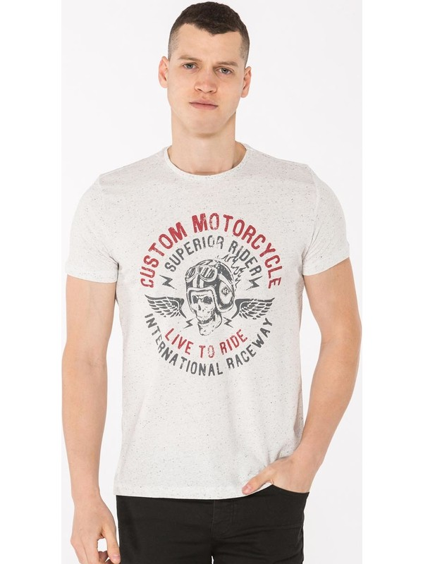 Mille Tamzen Erkek T-Shirt Beyaz