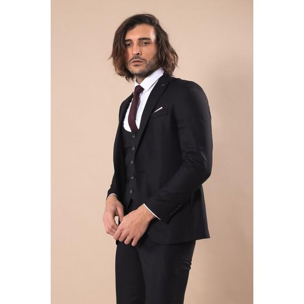 de8adbbd208d6 Wessi Sivri Yaka Tek Düğmeli Slim Fit Siyah Takım Elbise - 50 Ürün Resmi