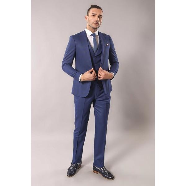 a0908071fd7f2 Wessi Wss Wessi Sivri Yaka Tek Düğe Çift Yırtmaç Yelekli Takım Elbise - 50  - Lacivert