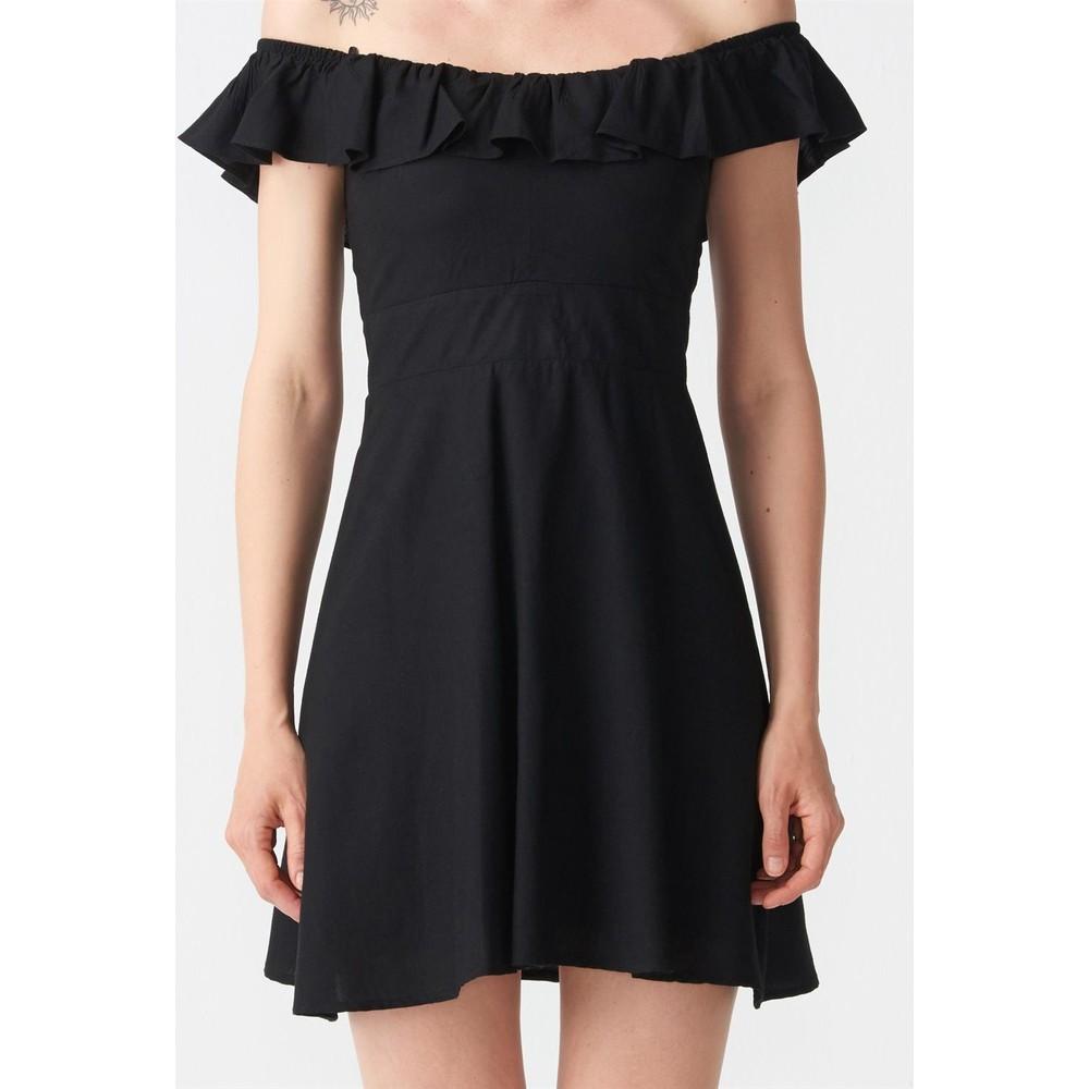 031115b74cb13 Dilvin 9034 Sırtı Gipeli Yaka Fırfırlı Elbise-Siyah Fiyatı