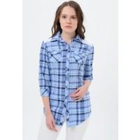 Maldia Kadın Kareli Turkuaz Gömlek Tunik