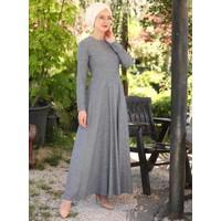 Doğal Kumaşlı Elbise - Lacivert - İnşirah