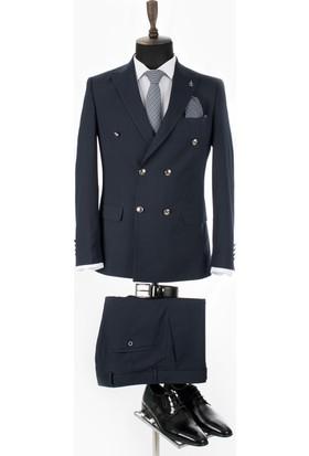 9e1ed96a39199 Deepsea Koyu Lacivert Kabartma Desenli Çift Yırtmaç Kruvaze Erkek Takım  Elbise 19010901 ...