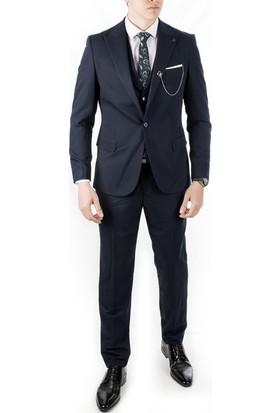 b1f8d72f40981 Deepsea Lacivert Düz Klasik Mendilli 3'Lü Erkek Takım Elbise 1910945 ...