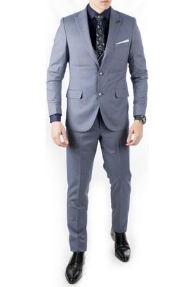 07fe1f30d2908 Deepsea İndigo Mavi Ceket Ve Yeleği Desenli 3'Lü Erkek Takım Elbise 1910953  ...